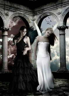 """I love how this doesn't depict them as enemies. For all we know, the two angels in this picture could be best friends! """"""""Oh, look! A camera!"""" The angel in white exclaimed, tilting her head. """"What are you even doing."""" The angel in black said, looking at her friend with an amusedly confused expression."""""""