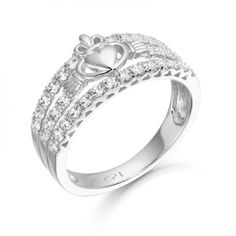 9K White Gold CZ Claddagh Ring with Micro Pave stone setting