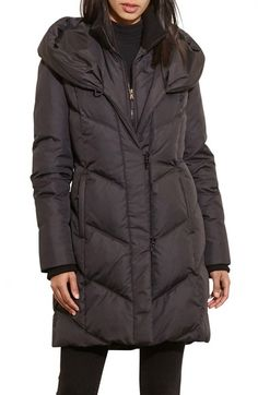 Lauren Ralph Lauren Quilted Hooded Coat with Knit Trim available at #Nordstrom