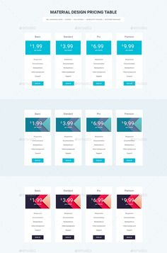 Material Design Pricing Table