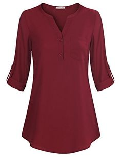 Find Messic Women's V-Neck Blouses Roll-up Sleeve Button Casual Chiffon Tunic Shirt online. Shop the latest collection of Messic Women's V-Neck Blouses Roll-up Sleeve Button Casual Chiffon Tunic Shirt from the popular stores - all in one Tunic Tops For Leggings, Tunic Shirt, Shirt Blouses, Chiffon Blouses, Red Chiffon, Chiffon Shirt, Ruffle Blouse, V Neck Blouse, Saree Blouse