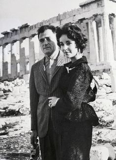 Elizabeth Taylor and husband Mike Todd visiting the Acropolis ~ 1958