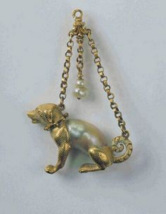 """Hunting Dog"" pendant  c.1560  gold, pearls  The Schmuck Museum in Pforzheim Germany.  Only museum in the world devoted exclusively to jewelry."