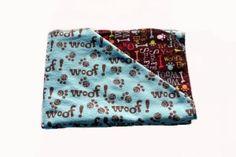 "Aqua Woof Puppy Tyme Hemstitched Flannel Blanket Kit (Small 36"" x 36"")"