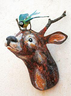Ciervos de taxidermia Monte/imitación ciervo decoración pared