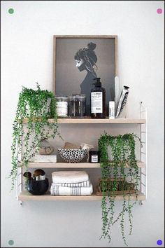 Stylish monochrome living room inspiration with greenery and wood accents, including furniture from John Lewis and accessories from The White Company. Decor, Shelves, Floating Shelves, Bathroom Shelves, Monochrome Living Room, Home Decor, Room Inspiration, Interior Design Living Room, Bathroom Decor