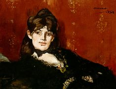 Berthe Morisot, painted by Manet. Morisot became the sister-in-law of her friend and colleague, Édouard Manet, when she married his brother, Eugène.