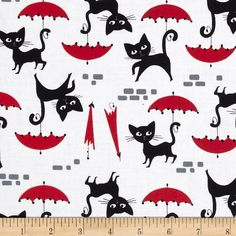 Timeless Treasures Le Chat White from @fabricdotcom  From Timeless Treasures, this cotton print is perfect for quilting, apparel and home decor accents.  Colors include white, black, red and grey.