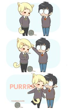 Chibi Drarry - Kitty purrs by Cremebunny.deviantart.com on @DeviantArt