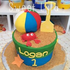 Summer beach themed boy birthday party cake!  See more party planning ideas at CatchMyParty.com!