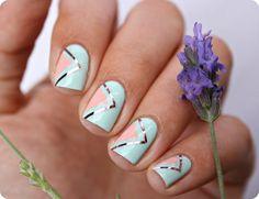 Pastel Geometric Nails #malykoutekkrasy #mint #cutemani #nailart - bellashoot.com