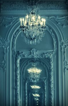 Romantic Parisian interior french chic design love hallway chandelier tile marble black blue white mirror shabby chic interior design modern natural light gorgeous inspiration places-to-go-things-to-see Chandelier Bougie, Hallway Chandelier, Teal Chandeliers, Turquoise Chandelier, Turquoise Walls, Vintage Chandelier, Turquoise Color, Josie Loves, Cyan
