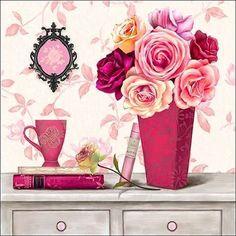 Art Atelier Alliance: Parisian in Pink 4 Keilrahmen-Bild Leinwand Blumen rosa