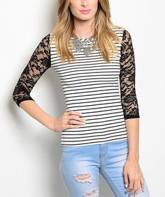 This Forever Lily Black & White Stripe Lace-Sleeve Top by Forever Lily is perfect! #zulilyfinds
