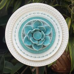 Soft Blue Teal Turquoise Lotus Repurpose Glass by ARTfulSalvage, $45.00