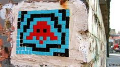 This is another pixel creation created in 2007 of a character from the Classic video game Space Invaders. Like the mario flower, I could also use this and create this as a repeated pattern. Space Invaders, Pebble Mosaic, Mosaic Art, 8 Bit Art, Artist Biography, Street Art Graffiti, Street Artists, Art Plastique, Public Art