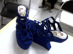 blue wedges shoes for sell. 40-41. 15cm. #gagawedges #beehaveornament