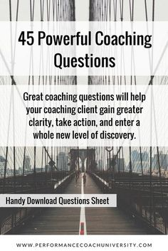 life coaching tools The best coaching questions are usually open-ended questions that illuminate opportunity. Check out these 45 powerful coaching questions you can use that are bro Coaching Questions, Life Coaching Tools, Leadership Coaching, Online Coaching, Business Coaching, Leadership Development, Leadership Quotes, Teamwork Quotes, Leader Quotes