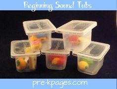 eraser beginning letter sound sorting tubs --- good idea for adding to my ABC drawers