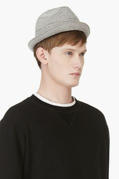 DIESEL Grey Woven Cotton Trilby Hat