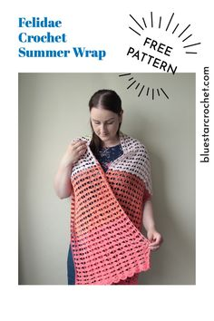 Enjoying a lovely walk on a summer evening but all of a sudden your shoulders get a bit chilly? Make this large crochet summer wrap to drape over your shoulders. The free crochet summer wrap pattern is available on my blog. Easy Beginner Crochet Patterns, Crochet Wrap Pattern, Basic Crochet Stitches, Crochet For Beginners, Easy Crochet, Free Crochet, Crochet Prayer Shawls, Crochet Shawl, Summer Wraps