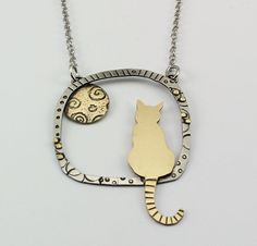 Kitty Necklace, Cat Necklace, Kitty Jewelry, Gold and Silver Kitty Necklace, Gold Kitty Necklace, Kitty Silhouette, RP0686NK