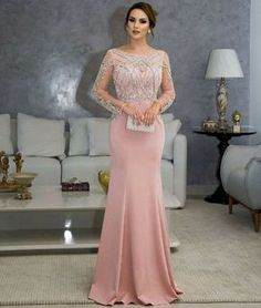 vestido de festa rosé manga longa