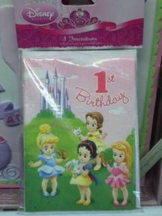 1st birthday DISNEY princess invitations