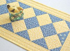 Quilted Summer Table Runner, Chicken, Yellow Denim Blue, Kitchen Table Quilt, Farmhouse Decor, Quiltsy Handmade