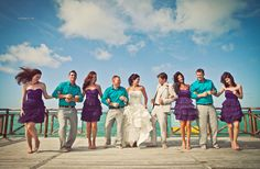 maid of honor in purple and best man in teal, rest of girls in teal and men in purple??