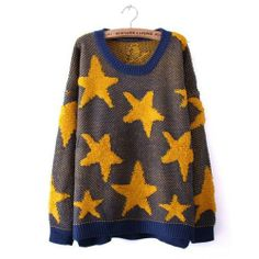 $39.00 cool Sweaters Stars Loop Double Upset Loose Sweaters Bottoming Shirt Sweater Yellow Star