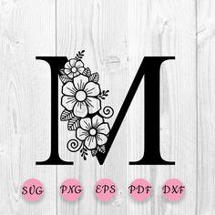 Flower Svg, Flower Clipart, Star Flower, Flower Crafts, Flower Alphabet, Flower Letters, Zentangle, Letter M Tattoos, Wood Burning Patterns