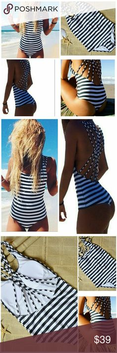 One piece stripe bandage Brazilian swimsuit Great quality. Color black and white stripes. Wire free. Padded... Swim One Pieces