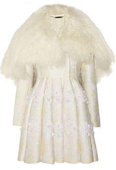 Alexander McQueen Shearling & Floral Applique Brocade Coat