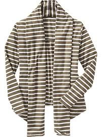 Girls Striped Open-Front Cardigans