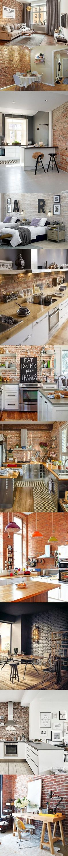 I could rearrange my parlor to show more of the exposed brick Design Loft, House Design, Interior Architecture, Interior And Exterior, Urban Loft, Loft Style, Exposed Brick, Home Living Room, Modern Rustic