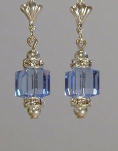 Light Sapphire Swarovski Cube Earrings by edenmb on Etsy