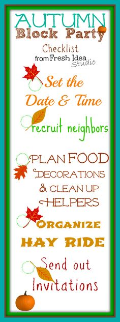 Autumn Block Party Checklist Free Fall Printables {no watermark}from Fresh Idea Studio