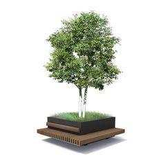 Green Robust FSCHardwood Bench combined outdoor sitting with Tree Planter