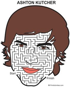 A-maze-ing face maze of actor Ashton Kutcher. An amazing actor immortalized with an a-maze-ing face maze. Chalk Ideas, Ashton Kutcher, Sidewalk Chalk, Free Coloring Pages, Maze, Hilarious, Printables, Free Colouring Pages, Sidewalk Chalk Paint