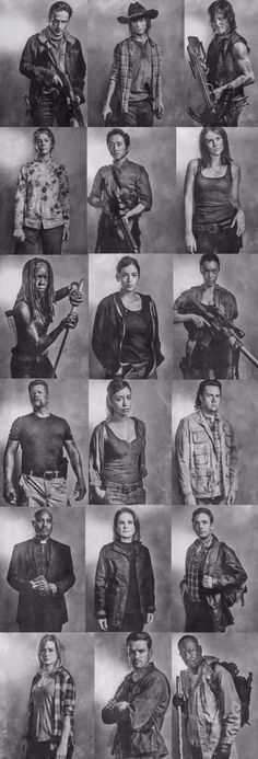 Rick, Carl, Daryl, Carol, Glenn, Maggie, Michone, Tara, Sasha, Abraham, Rosita, Eugene, Gabriel, Deanna, Aaron, Jesse, Spencer, and Morgan. The Walking Dead Season 6