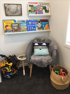 Reading nook, reading corner, book shelves, boys room, kids bedroom