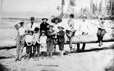 Group of men and boys on Greer's Beach (now Kitsilano Beach),1889