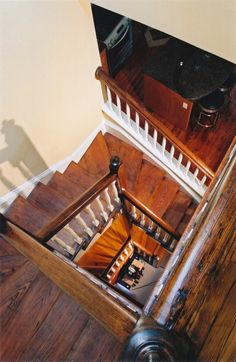 Craftsman Staircase with Hardwood floors, Cathedral ceiling, Spiral staircase, Loft