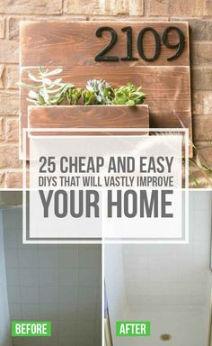 25 Cheap And Easy DIYs That Will Vastly Improve Your Home - I am going to try some of these for sure this summer. - Easy Diy Home Decor Easy Home Decor, Cheap Home Decor, Home Improvement Projects, Home Projects, Home Improvements, Easy Diy Projects, Craft Projects, Home Renovation, Home Remodeling
