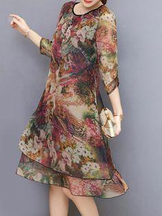 Vintage Floral Printed Sleeves Fake Two Pieces Dresses Floral Fashion, Fashion Dresses, Vintage Fashion, Kids Frocks, Draped Dress, Two Piece Dress, Simple Dresses, Vintage Floral, Chic Outfits