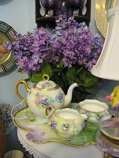 Antique hand painted china tea set.