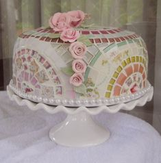 Just listed, handmade Mosaic Cake Dome Server with Pedestal Cake Stand