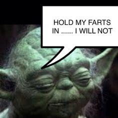 Never mess with Yoda ..... starwars star wars funny movie tv scifi America Americana retro vintage tosho jayleno Ellen fart farts