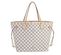 Damier Azur color with white and denim